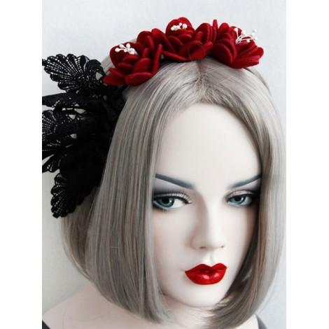 Red Rose Black Lace Gothic Lolita Headband