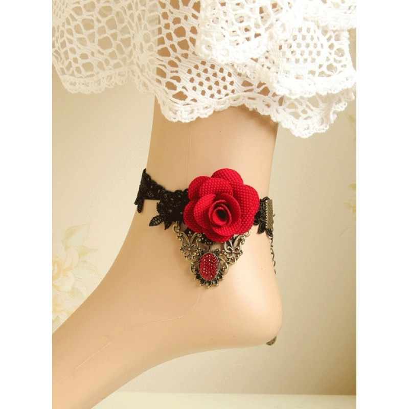 Black Lace Red Flowe...