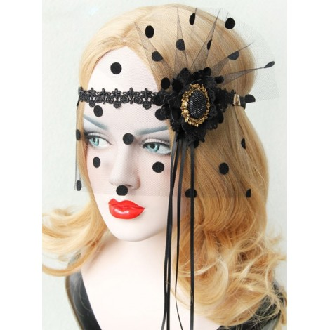 Black Exaggerated Tassel Mask Masquerade Party Veil Gothic Mask