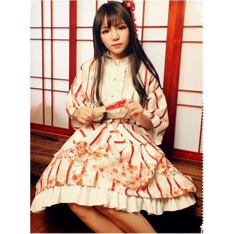 Hyakki Yakō Nine-tailed Fox, Gothic Lolita Printed Haori + Skirt