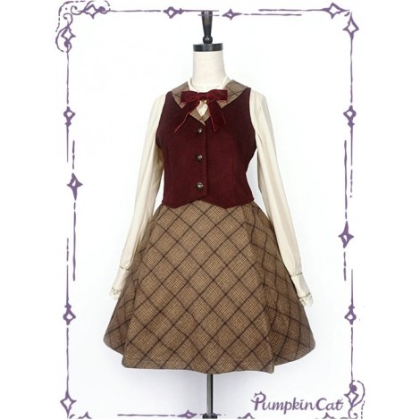 Wine Red Vest And Brown Half Skirt Lolita Full-set
