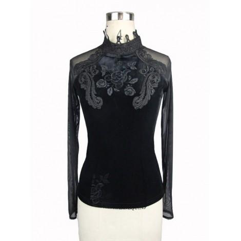 Black Embroidered Slim High Collar Retro Gothic Women' Long Sleeve T-shirt