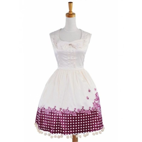 Beige Sleeveless Sun Flower Cotton Lolita Dress