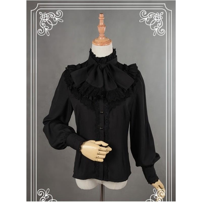 Black High Collar Bo...