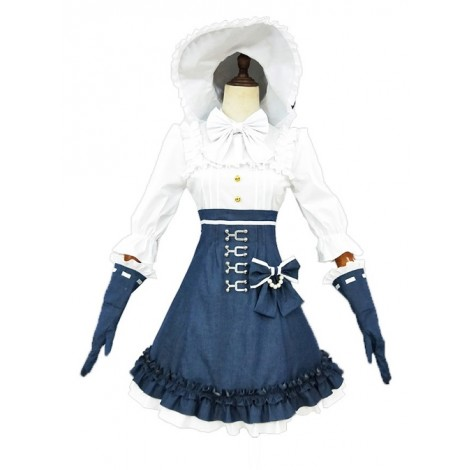 Alice Style White And Navy Blue Classic Lolita Dress And Hat Set