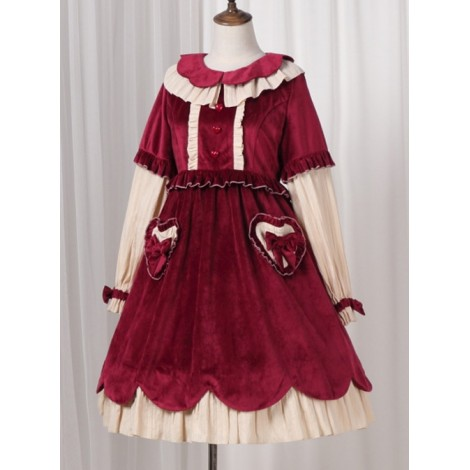 Autumn And Winter Black Or Red Elegant OP Classic Lolita Long Sleeve Dress