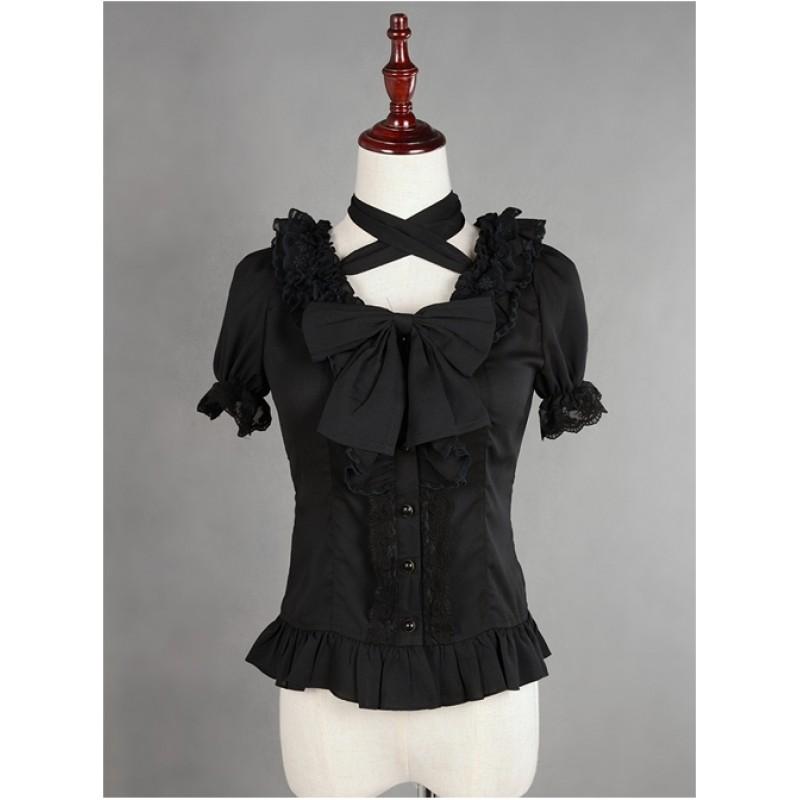 Black Lace Short Sle...