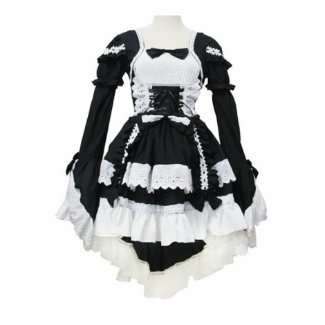 Black and White Cotton Cosplay Maid Costume