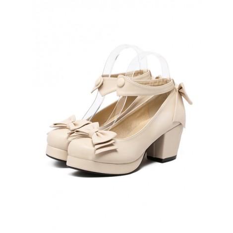 Beige Soft Sister Bowknot Princess Cute Cheap Lolita High Heel Shoes