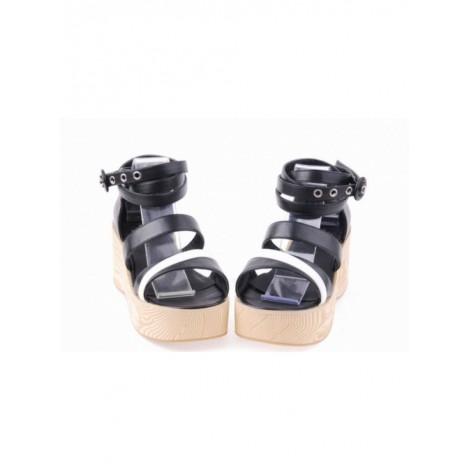 "Black 2.7"" Heel High Elegant PU Point Toe Ankle Straps Platform Lady Lolita Sandals"