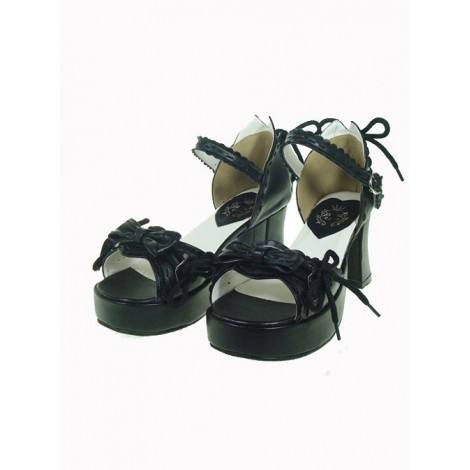 "Black 2.9"" Heel High Beautiful PU Point Toe Bow Platform Girls Lolita Sandals"