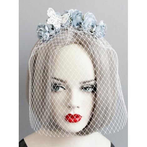 Elegance Lace Butterfly Bride White Veil Lolita Mask