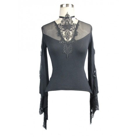 Punk Gothic Black Lace-up Hollowed Out Long Sleeve T-shirt