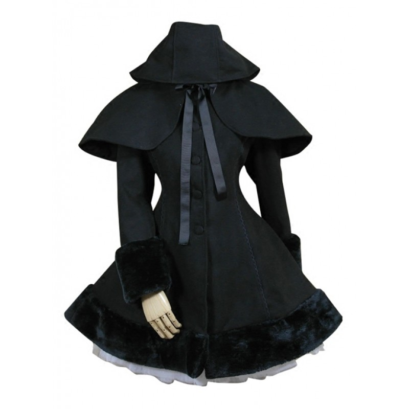 Black Hooded Shawl C...