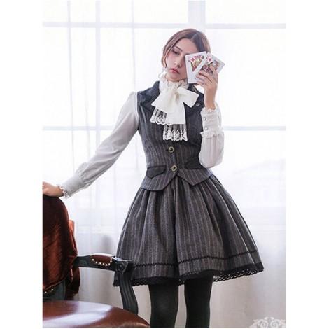 Miss Point Vintage School Stripes Lolita Vest and Skirt Set