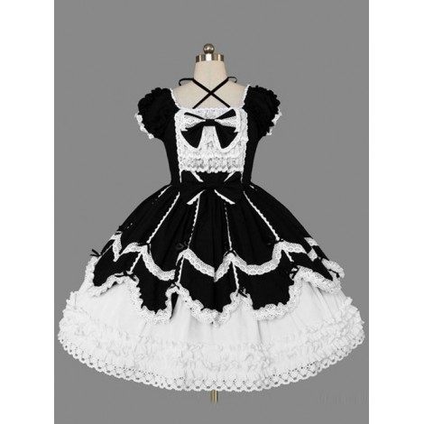 Black And White Cotton Elegant Gothic Lolita Short Sleeves Dress