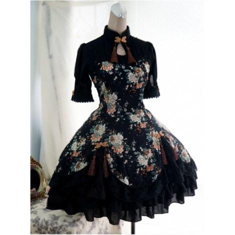 Chinese Style Peony Printing Qi Lolita Dress